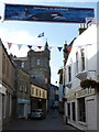 HU4741 : Lerwick: welcome banner over Commercial Street by Chris Downer
