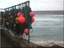 SW3526 : Crab pot lines and floats in Sennen Cove harbour by Rod Allday