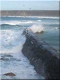 SW3526 : Heavy winter seas on Sennen Cove breakwater by Rod Allday