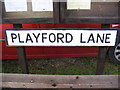 TM2046 : Playford Lane sign by Adrian Cable