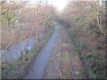 SS9086 : Cycle path and disused railway near Llangeinor by John Light