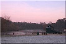 SE2741 : Golden Acre Park Lake at dusk by Rick Carn