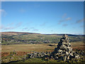 NY9324 : Marker cairn above Middleton-in-Teesdale on the Pennine Way by Karl and Ali