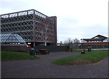 SU1584 : New park, former Post Office site, Fleming Way by Vieve Forward
