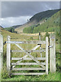 SN8053 : Bridleway gate and Cwm Tywi, Ceredigion by Roger  Kidd