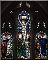 TQ3674 : St Hilda with St Cyprian, Brockley Road, Crofton Park - Stained glass window by John Salmon