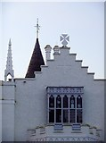 TQ1572 : Roof-scape with crow-step gable, Strawberry Hill by Stefan Czapski