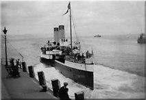 """SY6878 : Paddle steamer """"reversing"""" away from pier by Ethel Tiller 1885-1946"""