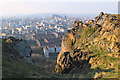 NT2673 : Edinburgh Castle from the top of Cat Nick gully, Salisbury Crags by Jim Barton