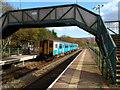 SS9894 : Train for Cardiff waits in Ystrad Rhondda railway station by Jaggery