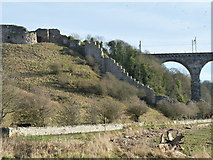 NT9953 : Berwick Castle wall and Royal Border Bridge by cathietinn
