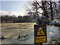 SJ9682 : Thin Ice - The Mill Pond at Lyme Park by David Dixon