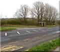 ST4590 : Bus shelter on the corner of the A48 and the road to Trewen by Jaggery