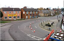 SK8508 : Rail Action at Oakham 08:Bollards on Barkeythorpe Road by Andrew Tatlow