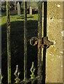 SX3792 : Gate latch, Virginstow churchyard by Derek Harper