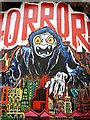 NZ2563 : 'Horror', Graffiti Wall on Maiden's Walk by Andrew Curtis