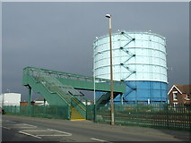 TQ0202 : Footbridge and gasholder, Littlehampton by Malc McDonald