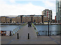 TQ3780 : Pontoon bridge over West India Dock by Stephen Craven