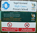 ST2887 : Nameboard, High Cross Primary School, Newport by Jaggery