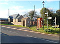 SO4402 : Bus shelter, phonebox and bench, Llansoy by Jaggery