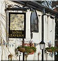 SJ9098 : Moss Tavern sign by Gerald England