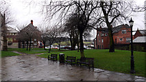 SK3871 : Paved area with lawns outside the Church of St Mary and All Saints,  Chesterfield by Trevor Littlewood