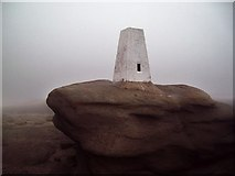 SK0787 : Triangulation Pillar and Mist on Kinder Low by Jonathan Clitheroe
