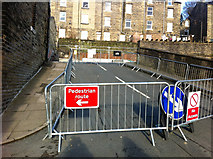 SD9927 : Barriers blocking Palestine Road, Hebden Bridge by Phil Champion
