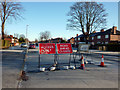SJ8192 : Road closure signs on Hardy Lane, Chorlton by Phil Champion