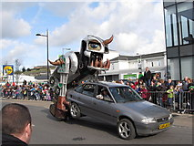 J4844 : The ingenious car jack monster at Downpatrick's St Patrick Day's Parade 2012 by Eric Jones