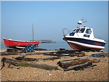 TR3752 : Fishing boats on Deal beach by Oast House Archive