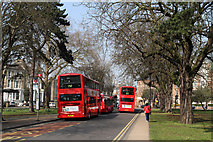 TQ1780 : Buses On Haven Green by Martin Addison