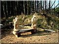 NG4158 : Carved bench in Kingsburgh Forest by Dave Fergusson