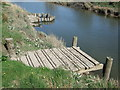 SH7864 : Fishing jetty on River Conwy by Richard Hoare