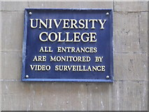 SP5106 : Warning sign, University College, High Street, Oxford by Robin Sones