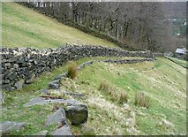 SD9923 : Footpath on a stone terrace near Swan Bank by Humphrey Bolton