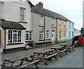 SN7634 : Picnic benches, Railway Terrace, Llandovery by Jaggery