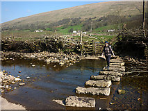 SD7186 : Stepping stones over the River Dee at Low Flats by Karl and Ali