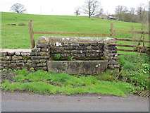 SD8555 : Stone water trough in Hellifield Road by John S Turner