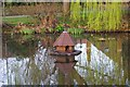 SU9559 : Duck house on the village pond, Bisley, Surrey by P L Chadwick