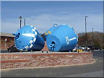 NZ3668 : Cycling buoys, North Shields by Oliver Dixon