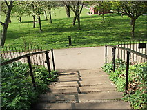 TQ3289 : Steps to Recreation Area by Christine Westerback
