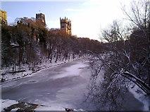 NZ2742 : River Wear frozen at Durham by Robert Graham