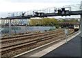 ST3088 : Signal gantry, Newport railway station by Jaggery