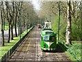 SD8303 : Blackpool tram heading for Heaton Park gates by Christine Johnstone