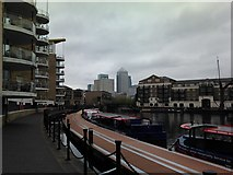 TQ3680 : View of Canary Wharf from Limehouse Basin by Robert Lamb