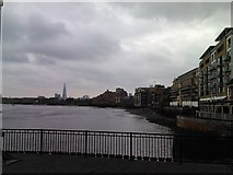 TQ3680 : View of the Shard and buildings in Narrow Street from Victoria Wharf by Robert Lamb