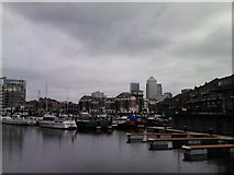TQ3680 : View of Canary Wharf from Limehouse Basin #2 by Robert Lamb
