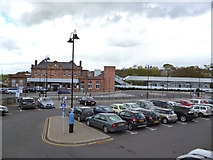NT9953 : Berwick-upon-Tweed:  Station and car park by Dr Neil Clifton