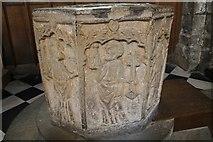 SK2168 : 14th C. Font, All Saints' church, Bakewell by J.Hannan-Briggs